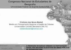 A PRODUÇÃO DO ESPAÇO URBANO E A PARTICIPAÇÃO SOCIAL NAS DECISÕES ALOCATIVAS DE OBRAS PÚBLICAS DE INFRAESTRUTURA