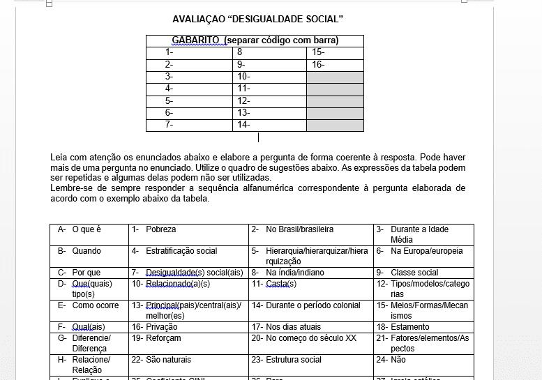 avaliação, prova sociologia, print