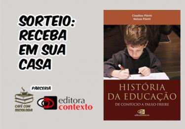 """Sorteio livro """"História da Educação"""" de Confúcio à Paulo Freire"""