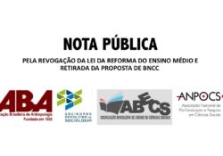Entidades lançam nota pública solicitando revogação da Reforma do Ensino Médio e pela retirada da proposta da BNCC